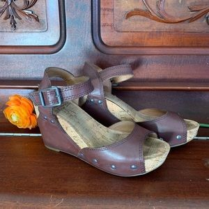 Lucky Brand Boho Chic Brown Studded Leather Wedges